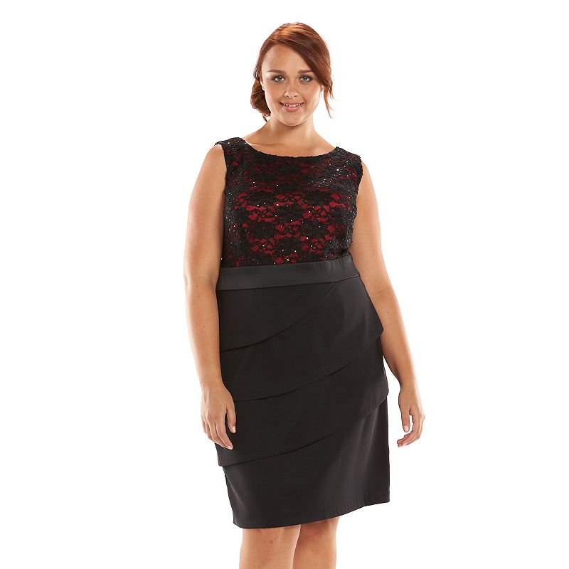 Plus Size Connected Apparel Embellished Lace Sheath Dress
