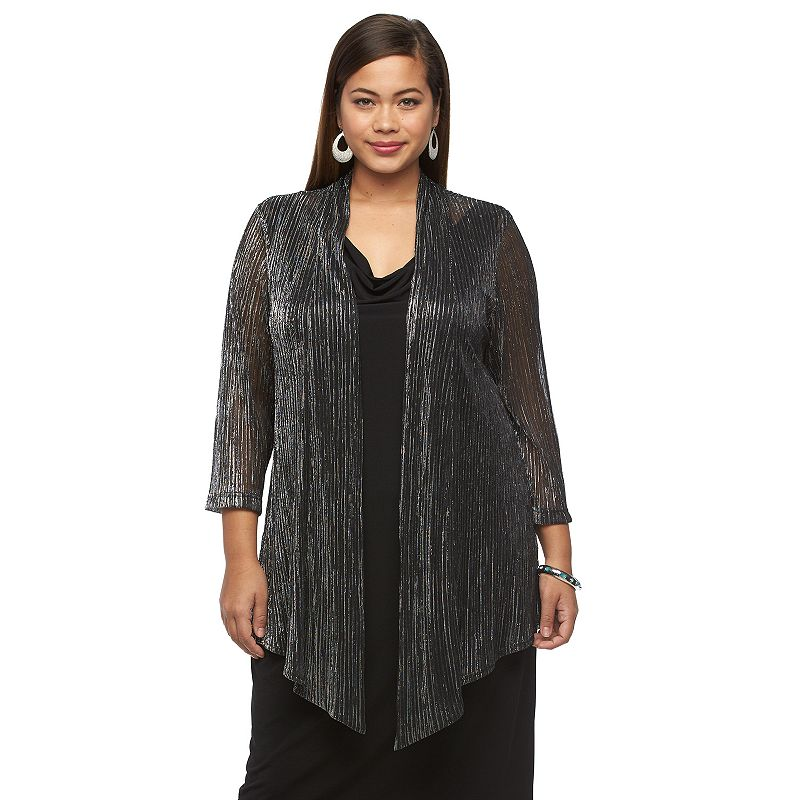 Plus Size Connected Apparel Mock-Layer Dress
