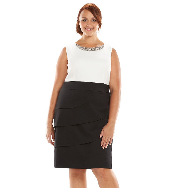 Plus Size Connected Apparel Colorblock Sheath Dress