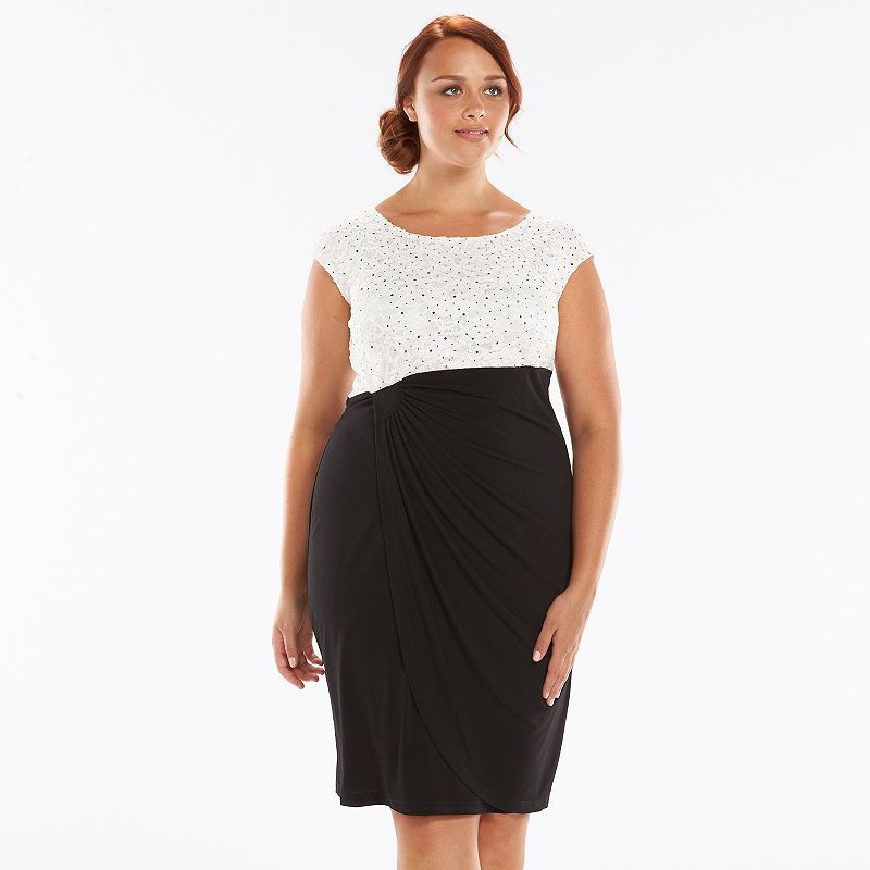 Plus Size Connected Apparel Embellished Faux-Wrap Dress