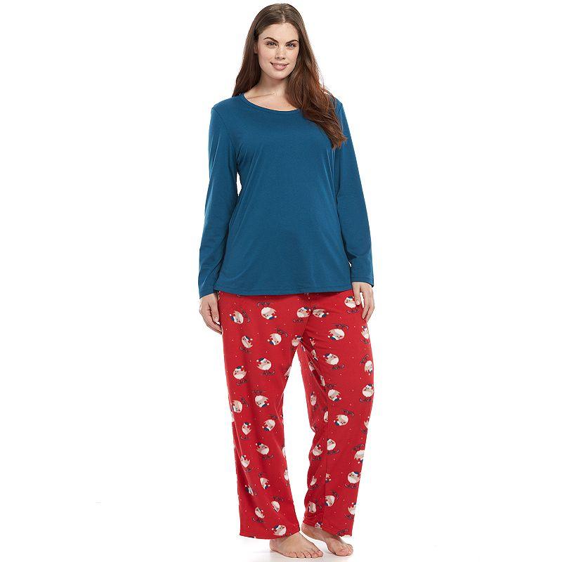 Plus Size Jockey Pajamas: Knit Top & Microfleece Pants Pajama Set