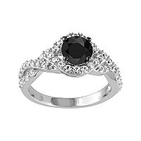 1 Carat T.W. Black Diamond & Lab-Created White Sapphire Sterling Silver Twist Ring