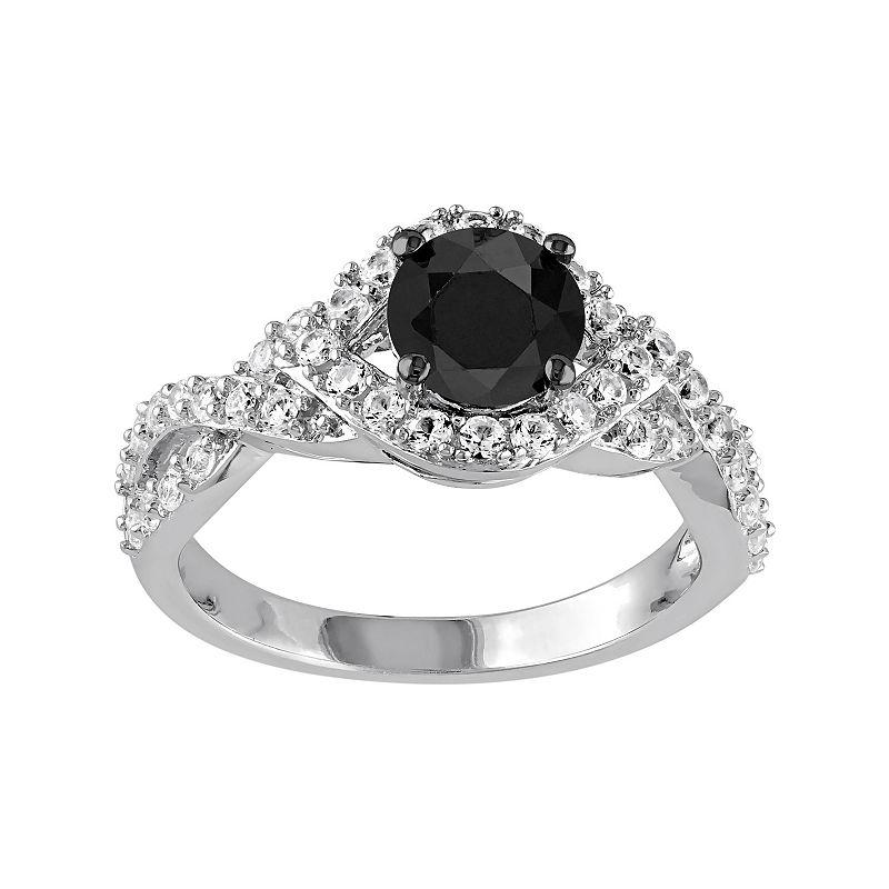 1 Carat T.W. Black Diamond & Lab-Created White Sapphire Sterling Silver Twist Ring
