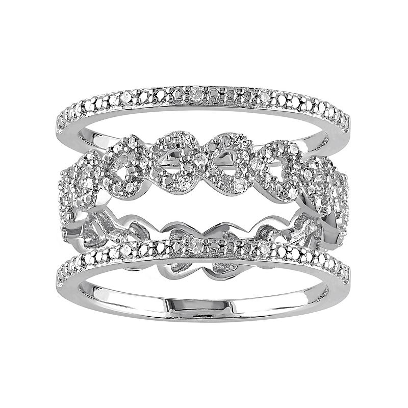 Diamond Heart Engagement Ring Set in Sterling Silver (1/8 Carat T.W.)