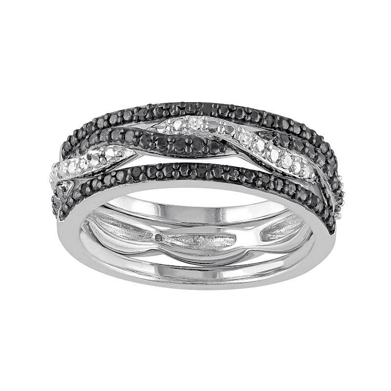 1/10 Carat T.W. Black & White Diamond Sterling Silver Twist Ring Set
