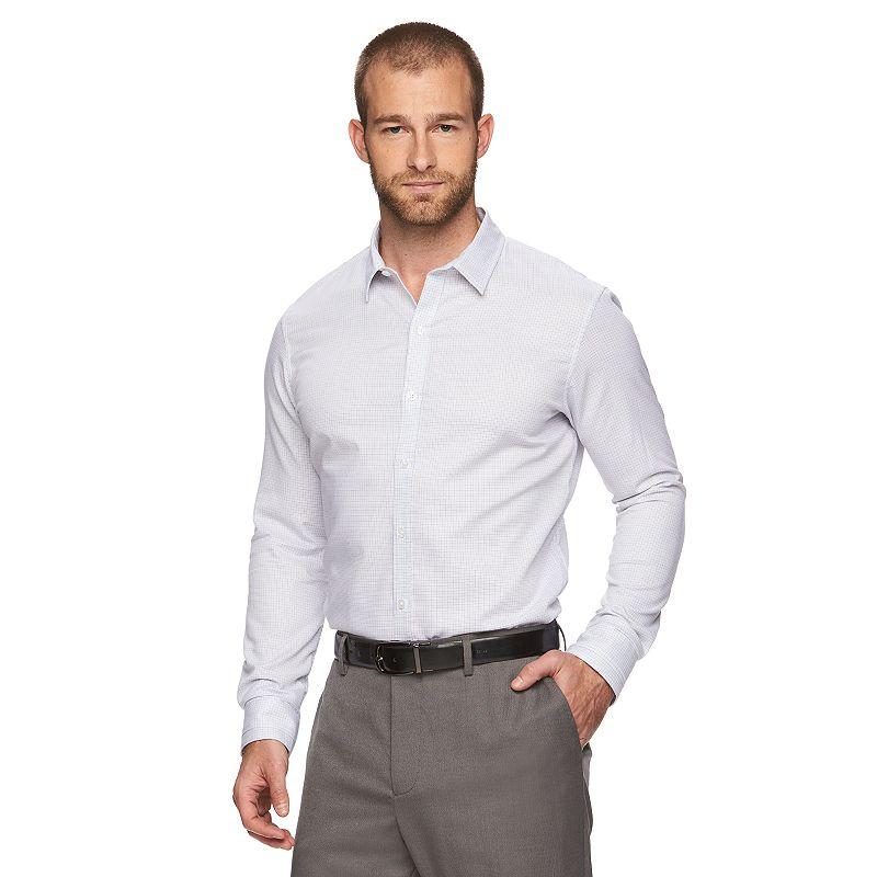 Men's Marc Anthony Slim-Fit Plaid Stretch Button-Down Shirt