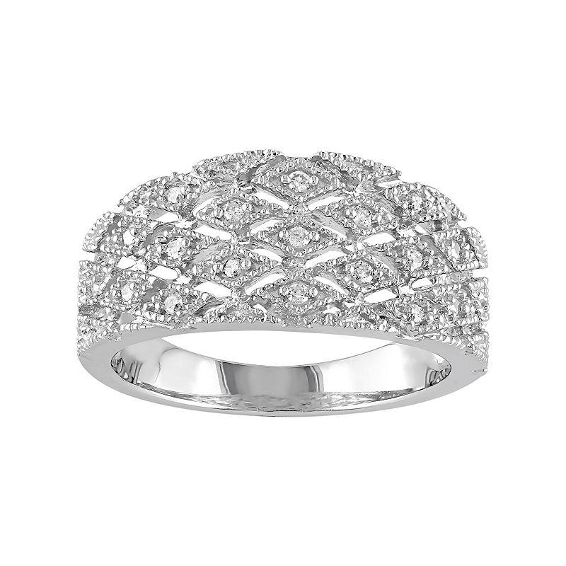 1/10 Carat T.W. Diamond Sterling Silver Openwork Ring