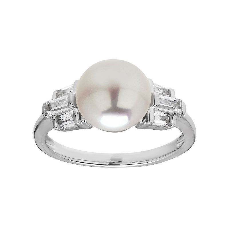 Simply Vera Vera Wang Freshwater Cultured Pearl & Lab-Created White Sapphire Sterling Silver Ring