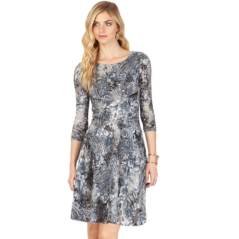 Indication Print Lace Fit & Flare Dress - Women's