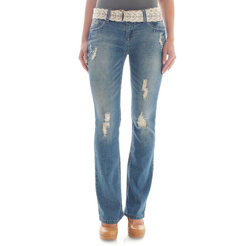 Juniors' Wallflower Ripped Bootcut Jeans
