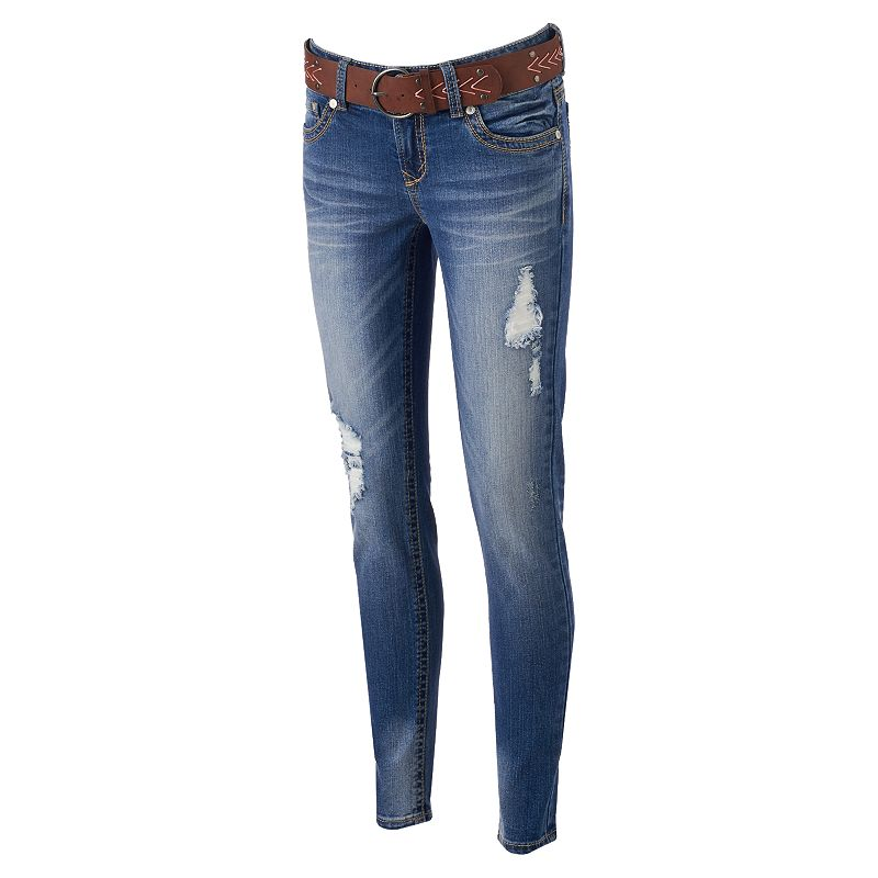 Juniors' Wallflower Ripped Curvy Skinny Jeans