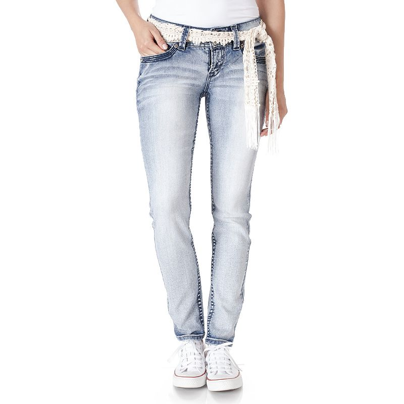 Juniors' Wallflower Light Wash Luscious Curvy Skinny Jeans