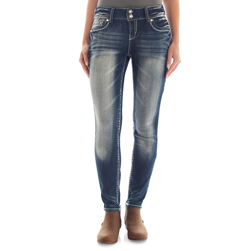 Juniors' Wallflower Curvy Bling Skinny Jeans