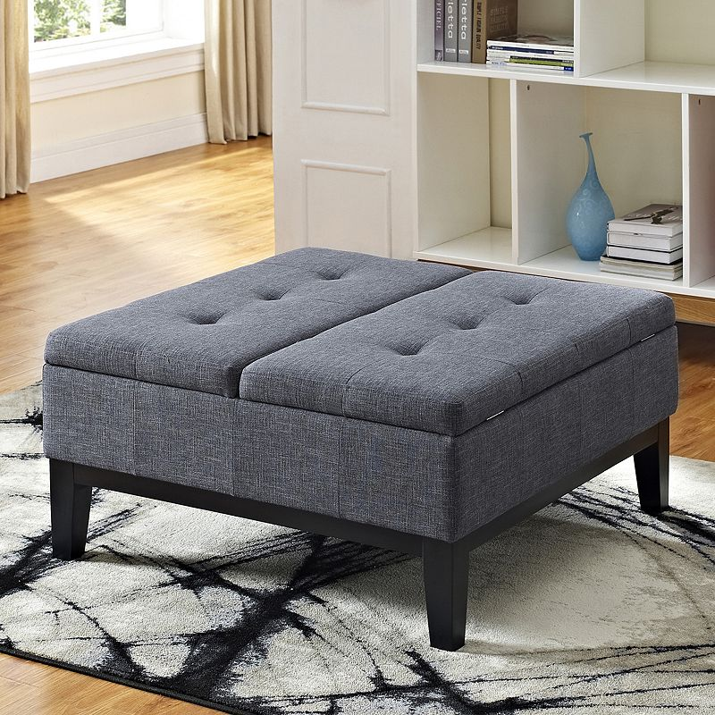 Simpli Home Dover Square Coffee Table Ottoman And Split Lift Up Lid Grey