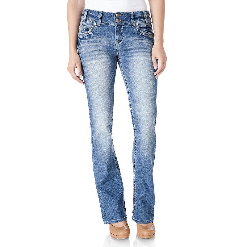 Juniors' Wallflower Curvy 2-Button Bootcut Jeans