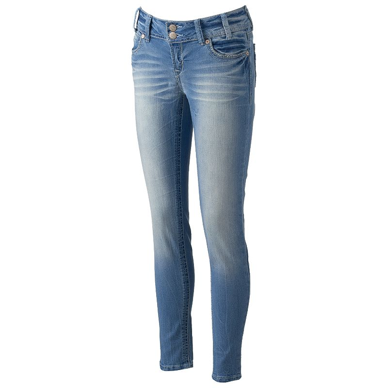 Juniors' Wallflower Faded Skinny Jeans