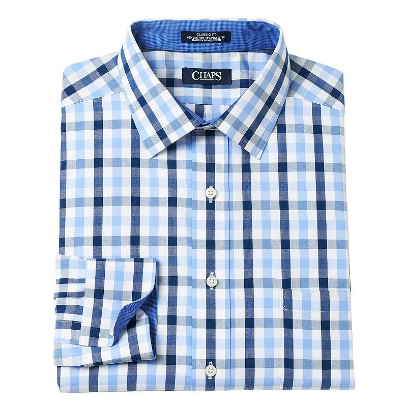 Chaps Classic Fit Checked Dress Shirt Men Size 18 34