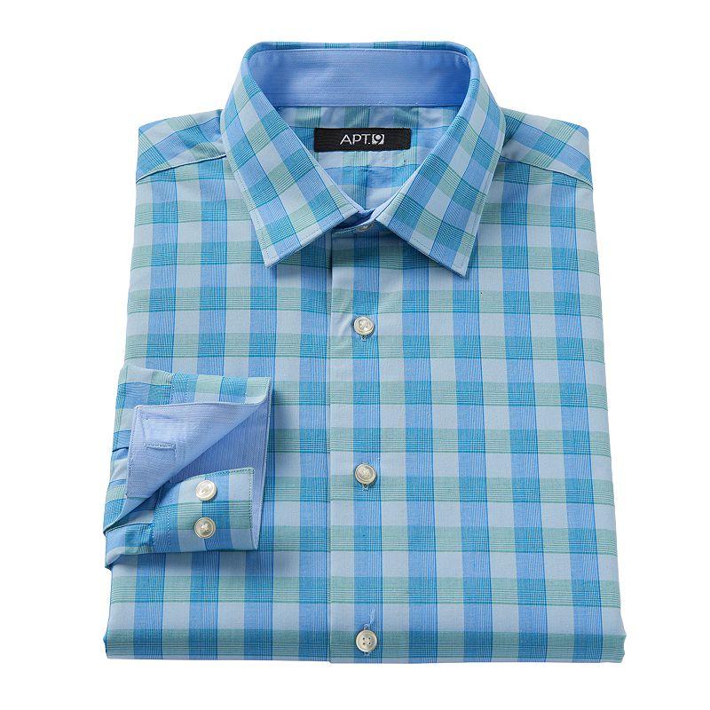 Apt 9 Slim Fit Plaid Contrast Dress Shirt Men Size 16