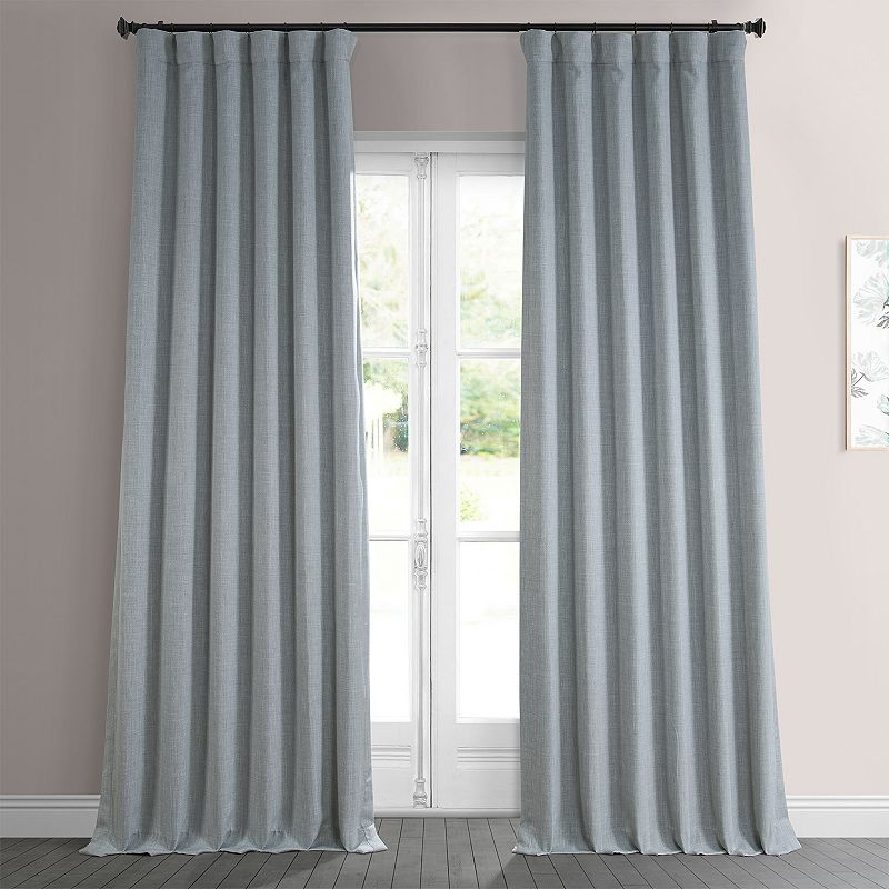 EFF Solid Faux-Linen Curtain