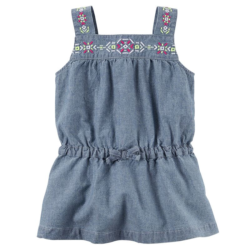 Toddler Girl Carter's Geo-Embroidered Chambray Tunic