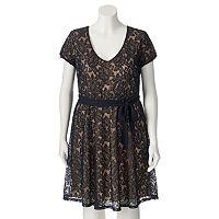 Juniors' Plus Size Wrapper Cap Sleeve Lace Dress