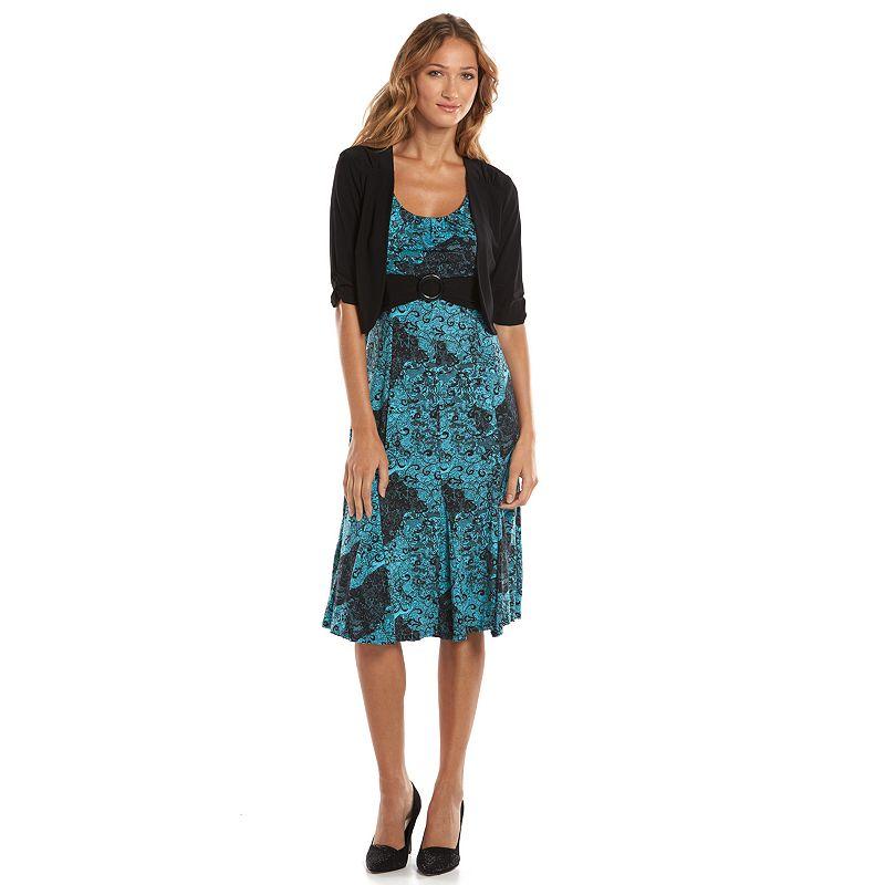 Perceptions Floral A-Line Dress & Solid Open-Front Jacket Set - Women's