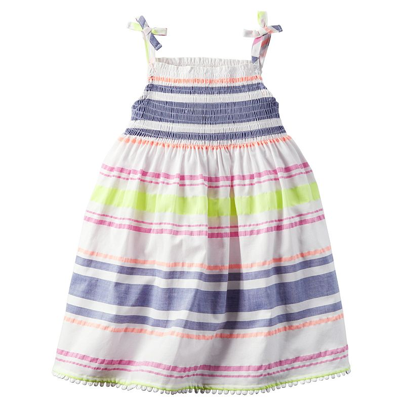 Toddler Girl Carter's Smocked Neon-Striped Dress
