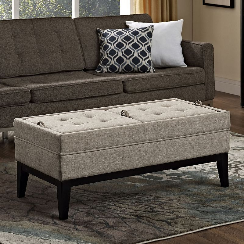 Simpli Home Castlerock Tufted Storage Ottoman Bench
