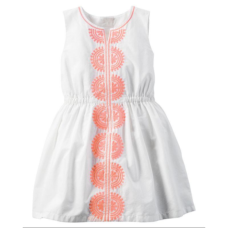 Toddler Girl Carter's Embroidered White Poplin Dress