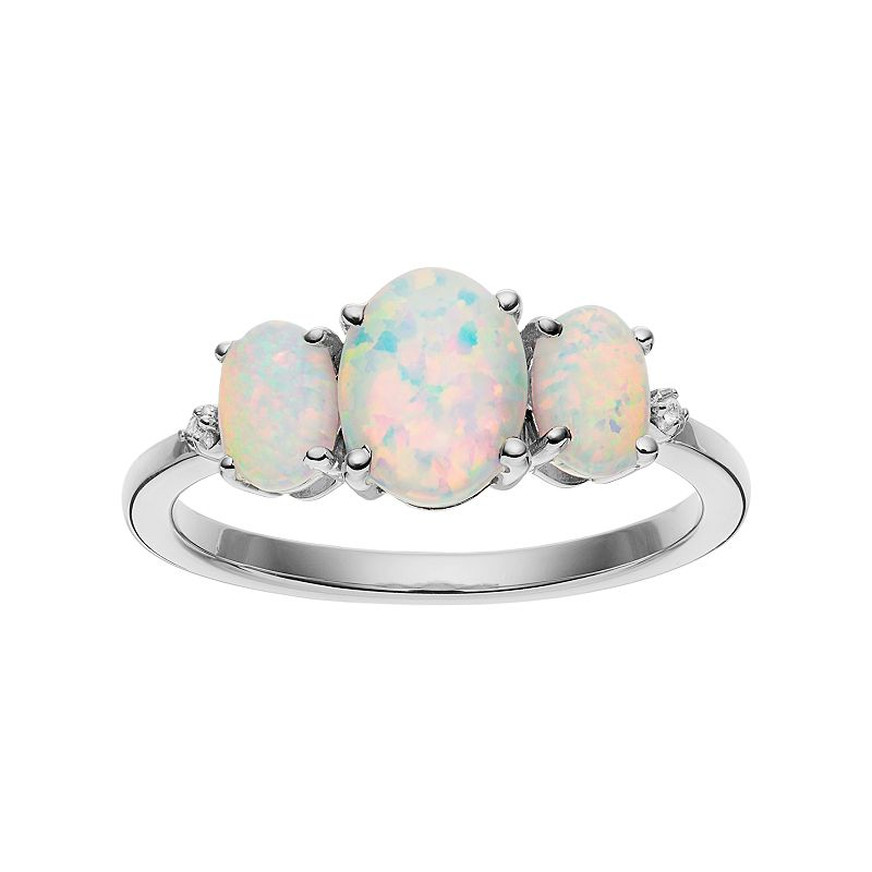 Sterling Silver Lab-Created Opal 3-Stone Ring