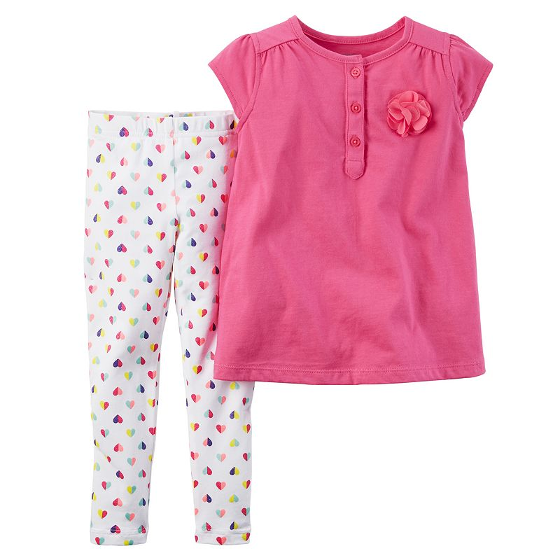 Toddler Girl Carter's Pink Rosette Tee & Heart Leggings Set