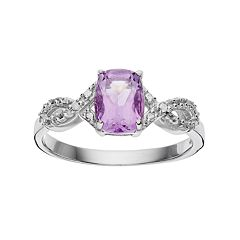 RADIANT GEM Amethyst Sterling Silver Infinity Ring by