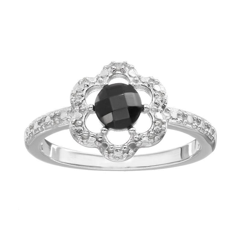RADIANT GEM Onyx Sterling Silver Flower Ring