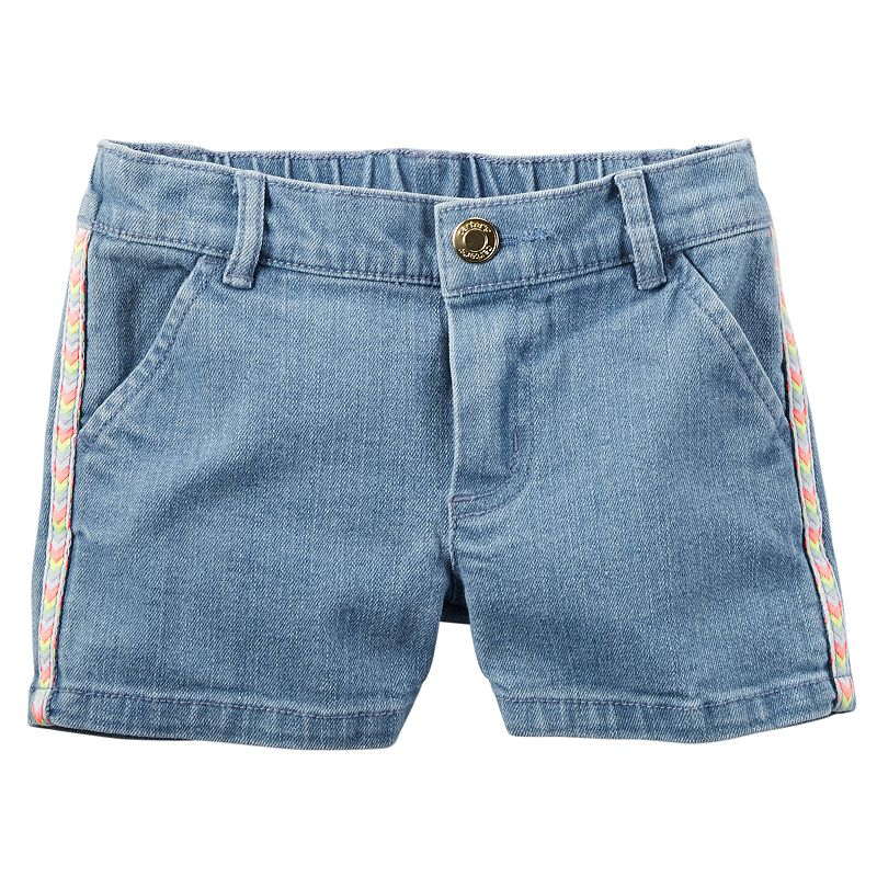 Toddler Girl Carter's Chevron Side-Stripe Denim Shorts