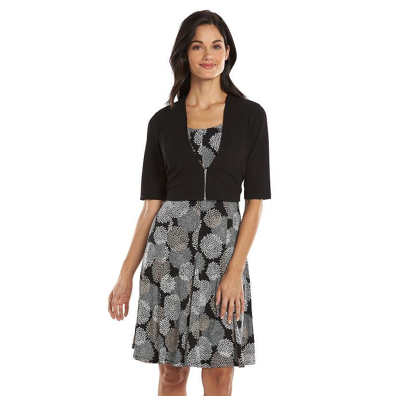 Perceptions Floral A-Line Dress & Solid Jacket Set - Women's
