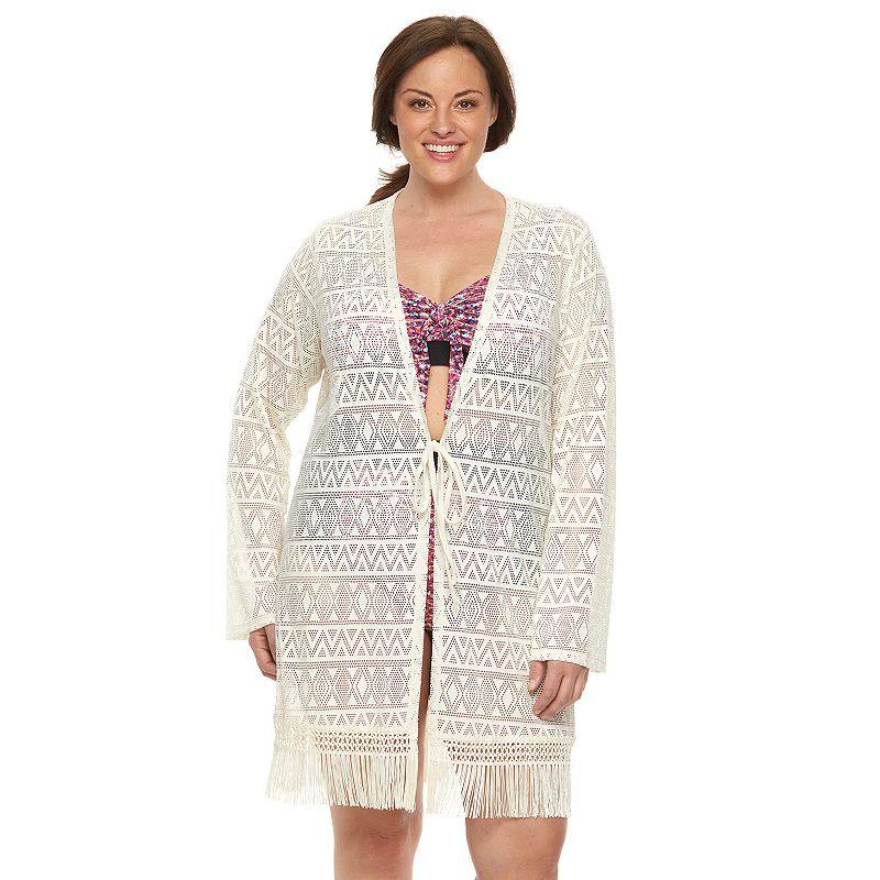 Plus Size Apt. 9® Crochet Fringe-Hem Cover-Up