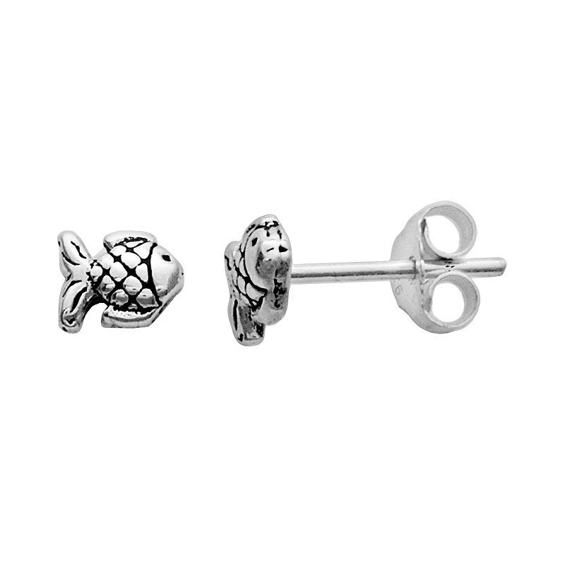 Itsy Bitsy Sterling Silver Fish Stud Earrings