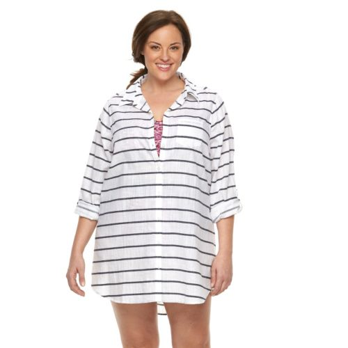 Plus Size Apt. 9® Striped Roll-Tab Gauze Cover-Up
