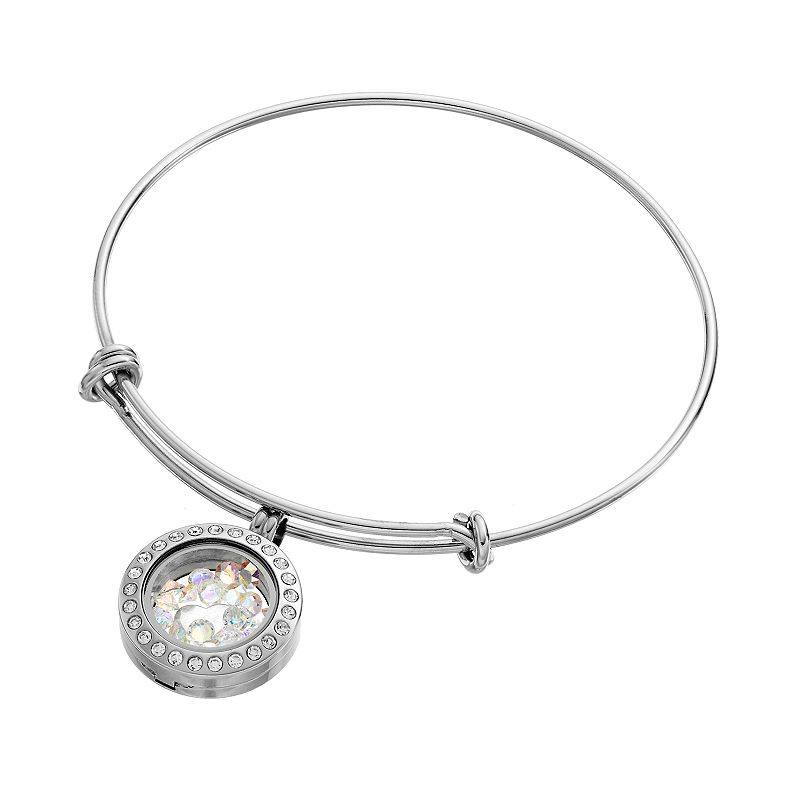 Blue La Rue.75-in. Stainless Steel Round Charm Locket & Bangle Bracelet - Made with Swarovski Crystals