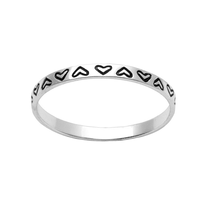 Itsy Bitsy Sterling Silver Heart Stack Ring