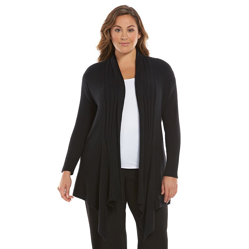 Plus Size Dana Buchman Ribbed Open-Front Cardigan