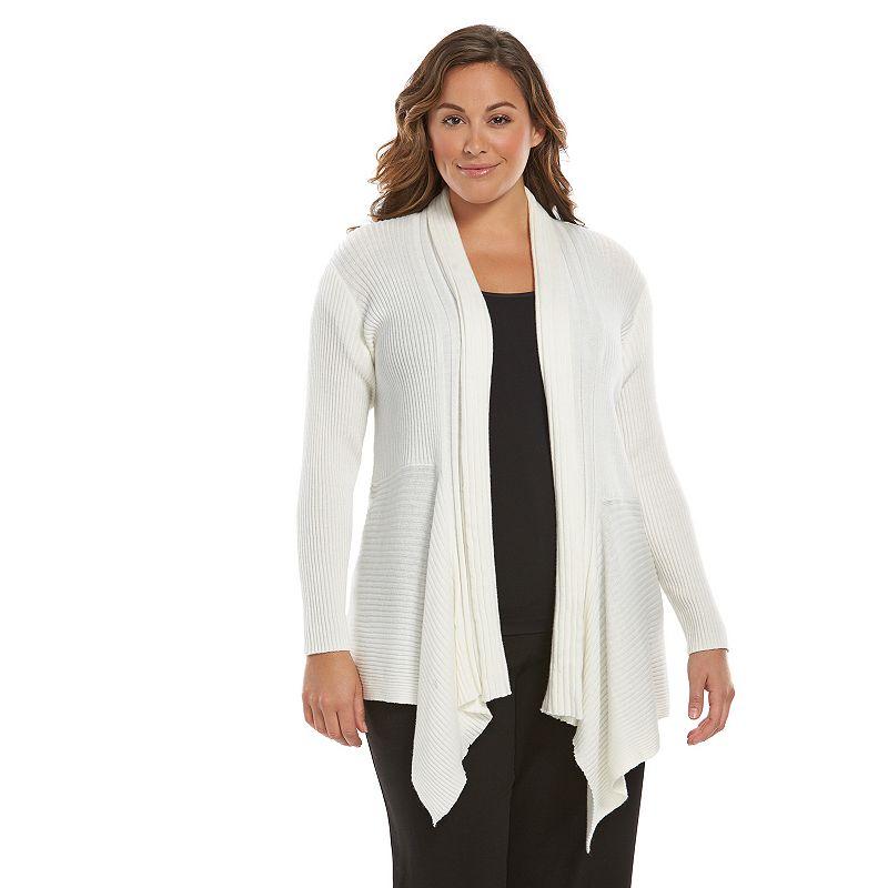 Plus Size Dana Buchman Ribbed Open-Front Cardigan