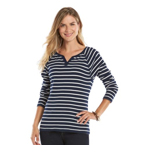 Petite Chaps Notched Raglan Top
