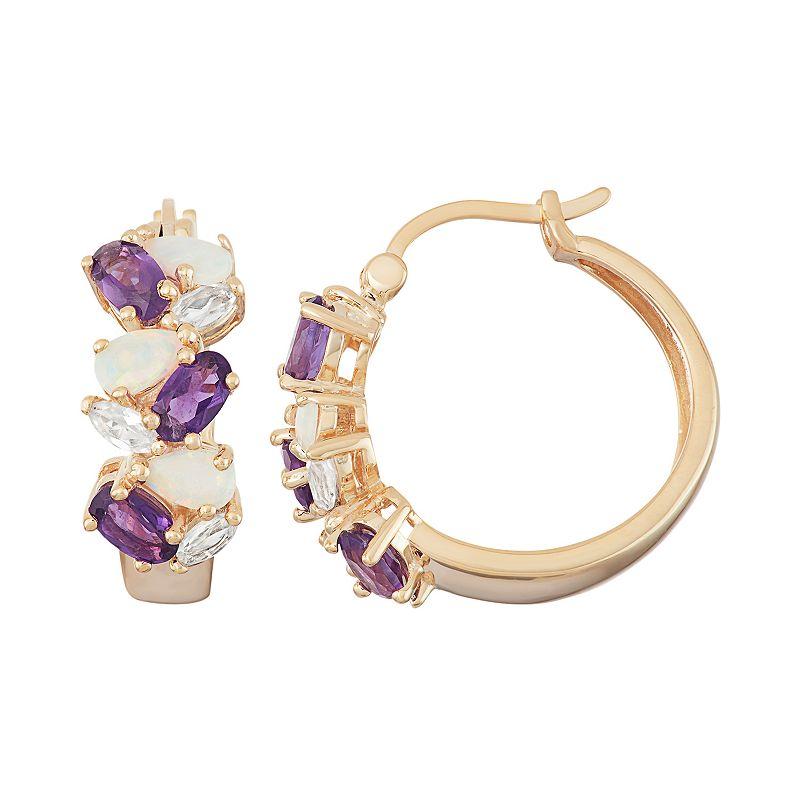 18k Gold Over Silver Gemstone Cluster Hoop Earrings