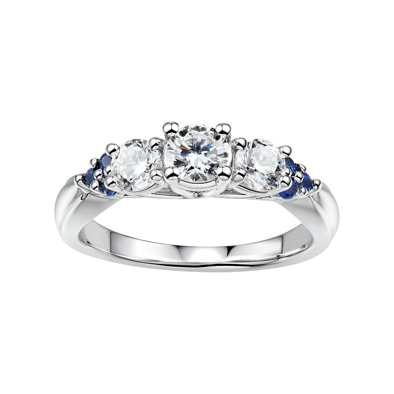 DiamonLuxe 1 1/8 Carat T.W. Simulated Diamond & Lab-Created Sapphire Sterling Silver 3-Stone Ring