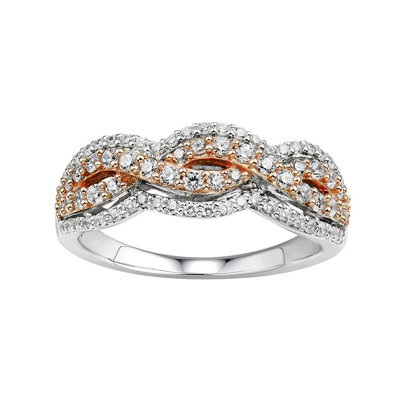 DiamonLuxeSterling Silver & 14k Rose Gold Over Silver 1 1/5 Carat T.W. Simulated Diamond Woven Ring
