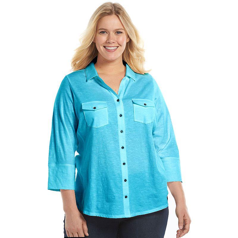 Plus Size SONOMA Goods for Life™ Knit Utility Shirt