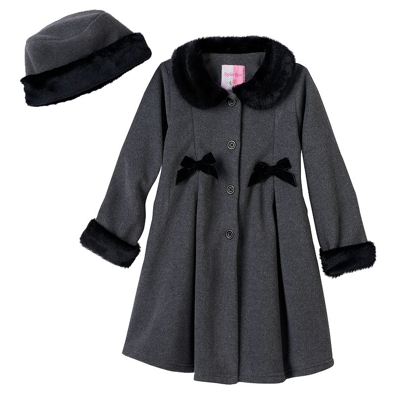 Sophie Rose Bow Faux Fur Fleece Jacket - Girls 4-6x