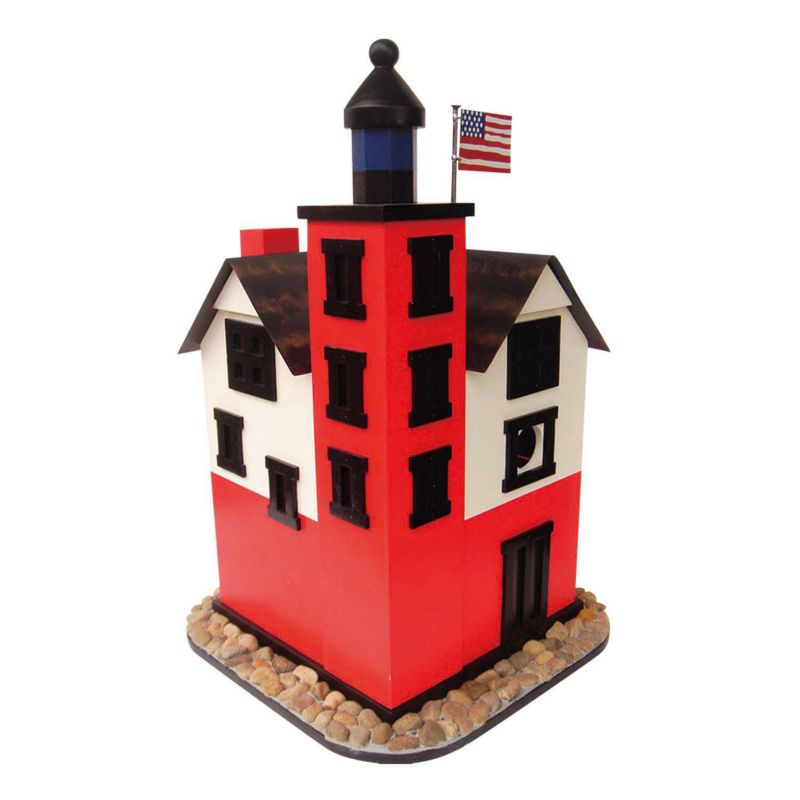 Home Bazaar Indoor / Outdoor Round Island Lighthouse Bird House, Red Black