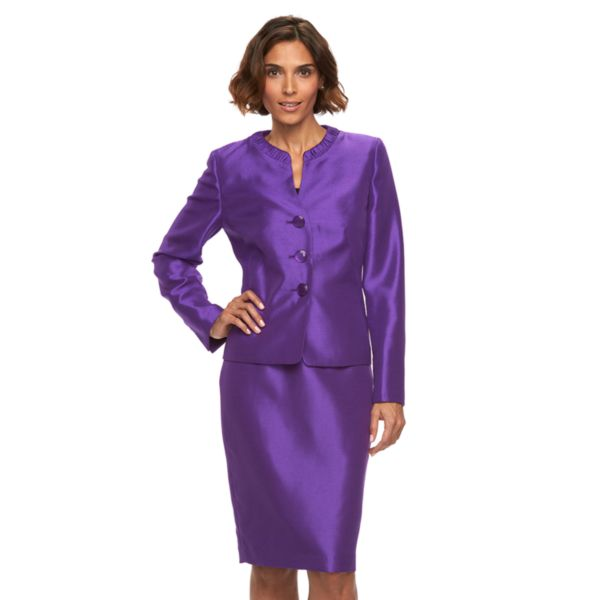 Women's Gloria Vanderbilt Slubbed Suit Jacket & Skirt Set